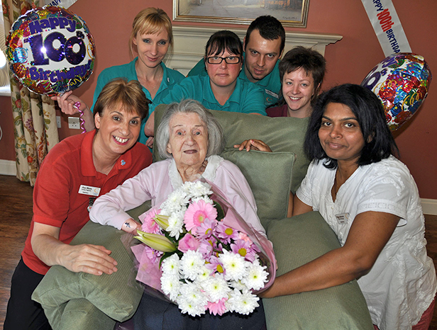 Phyllis Dawes celebrating her 100th birthday