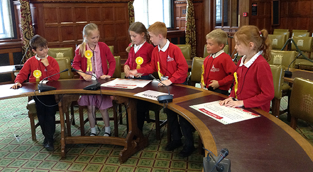 Election debates at St Mary's CE First School, West Moors