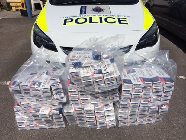Cartons of cigarettes found by Police in Wareham