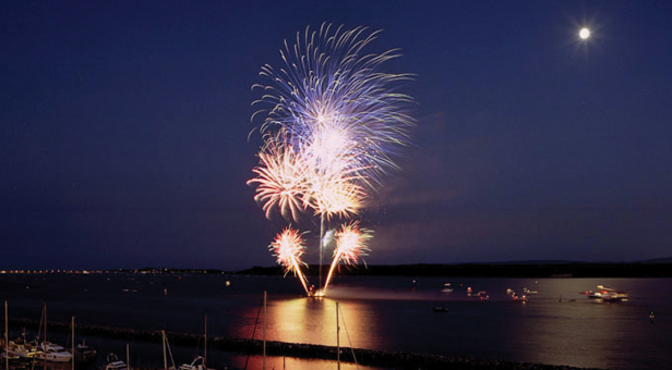 Poole Harbour Boat Show fireworks on Poole Quay