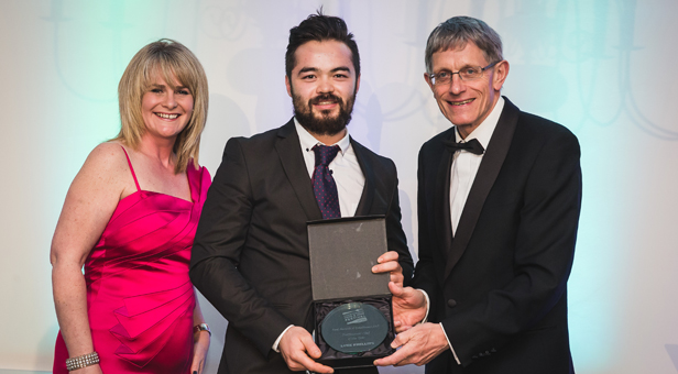Professional Chef of the Year Luke Phillips collects his award