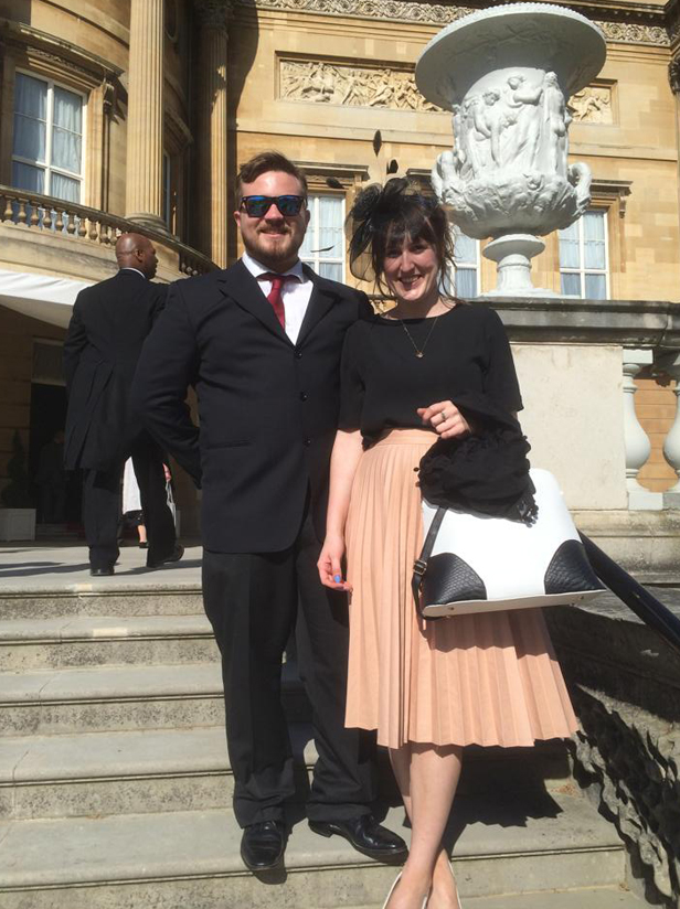 Ferndown Jitsu Clubs Sensei Rob Hanrahan with Kimberley Stone from Ferndown, Dorset at The Queens Garden Party Buckingham Palace