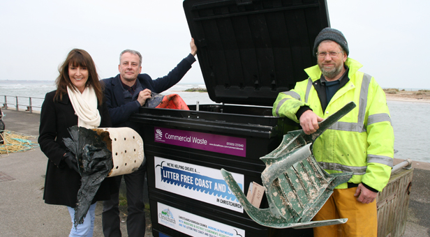 Ward councillors Claire Bath and Trevor Watts with Richard Stride, Chairman of Mudeford & District Fishermen's Association by the new bin
