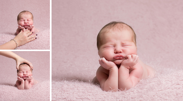 Image showing safe practice in newborn photography: how KW Photography creates a 'composite' newborn portrait in which a baby appears unsupported, but is in fact safely handled throughout.