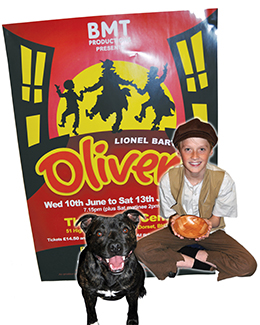 Matthew Trach, 12, (playing Oliver) with Higgins, one of the dogs hoping to get his teeth into the role of Bullseye