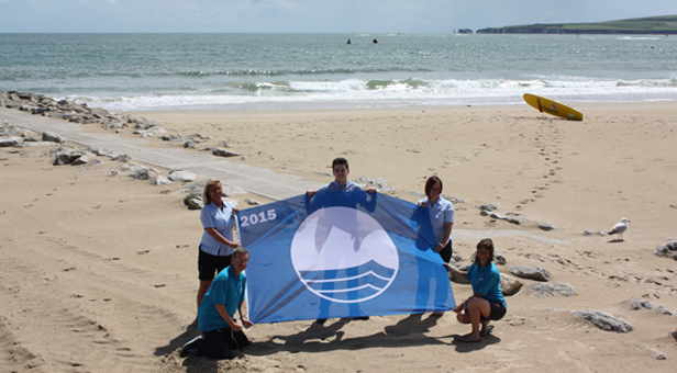 Poole's Beach Team celebrate the 2015 Blue Flag awards L-R: Kenneth Standing, Tracey Moore, Ben Brookings, Judith Martin and Kirsten Bellamy.