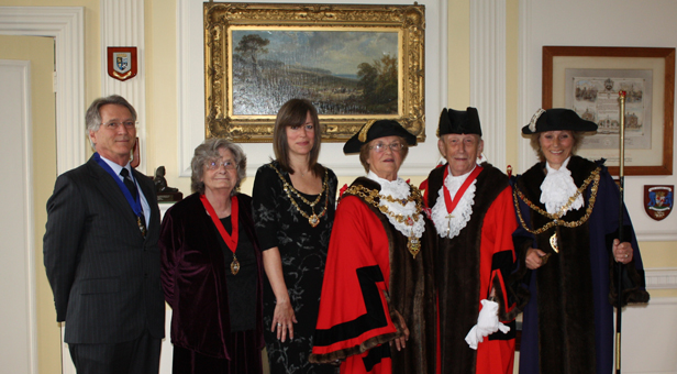 L-R: Sheriff's Escort Mr Bryan Dion, Deputy Mayoress Mrs Brenda Adams, Mayoress Johann Stribley, Mayor Cllr Ann Stribley, Deputy Mayor Cllr Peter Adams, Sheriff Cllr Xena Dion.