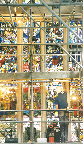 Restoration of Jesse Window in Great Hall in 1999. Courtesy of Dennis Booth