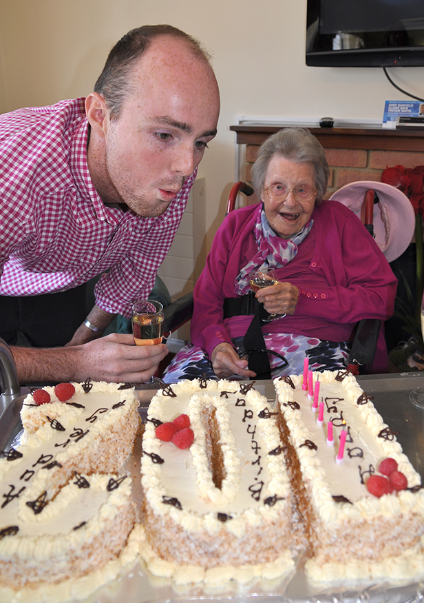 Audrey with her special cake to mark her 102nd birthday