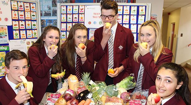Arnewood students sampling different varieties of fruit and veg as part of their Healthy Eating Week