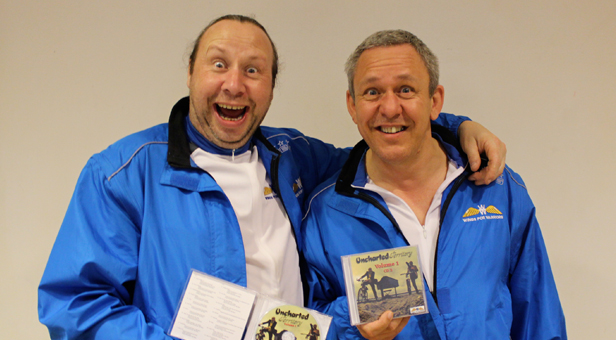 (left) and Jon (before the bike ride) with a couple of CDs they have produced to help raise more money for Wings4Warriors