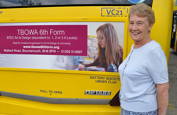 Janette with the Yellow Bus advert