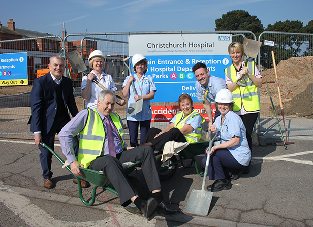 Patrick Kneafsey, Construction Director at Quantum Group, and Edwin Davies, Associate Director of Estates at RBCH, with staff from Christchurch Hospital