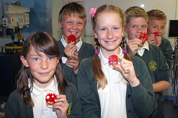 Children from New Milton Junior School with their laser-cut key rings, made at the STEM Day hosted by The Arnewood School