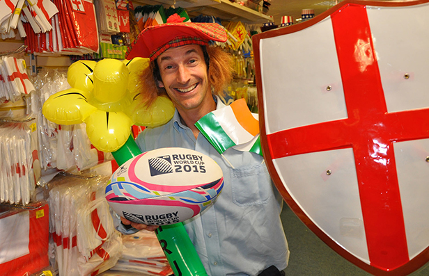Nick Peek with some of the Rugby World Cup products