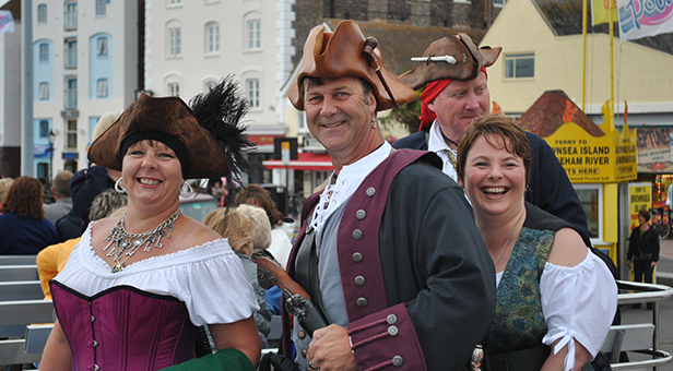 The Pirates of Poole at Poole Quay, ready to board the Purbeck Princess