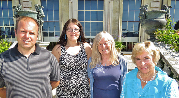Adult winners Barry Meacham (far left) and Dawn Beek (far right) with Sam Kirkby (middle left) and Liz Magee (middle right) from Poole Poetry Group © Nick Ashby