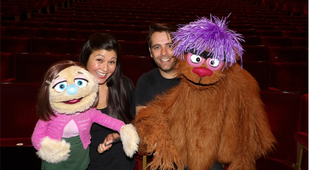 Douglas Walker and Felicity Wright with 'Trekkie Monster' and 'Kate Monster'