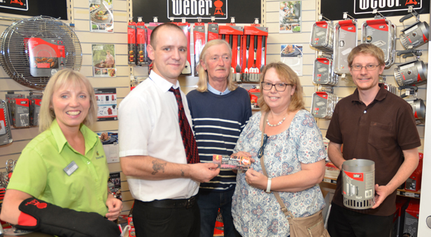 From the left: Haskin's indoor manager Andrea Digweed, Alex Webb, Webb's Butchers, Adrian and Angela with Ben Pulford, managing director of mags4dorset