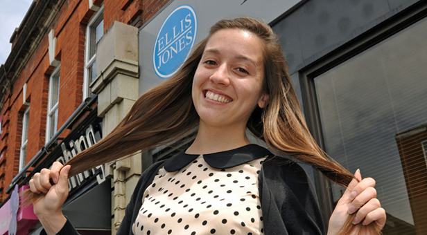 Hair today...Trainee solicitor Annie James pictured before losing her locks for the Little Princess Trust