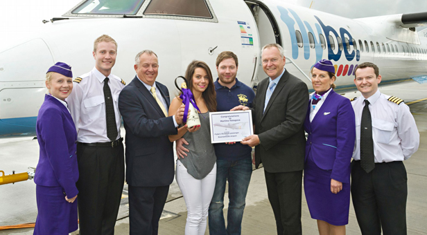 Local resident, Martina Halagova was Flybe's 50,000th passenger at Bournemouth Airport. She was travelling with her boyfriend Ben Jones to celebrate his birthday on Flybe's flight to Paris Charles de Gaulle that operates four times a week.