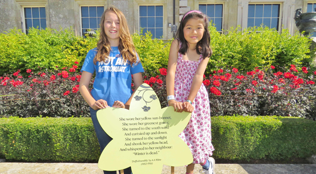 Junior winners Anna O'Neill (L) and Alexandra Pilz (R) with one of the trail boards sponsored by Nationwide Building Society © Nick Ashby