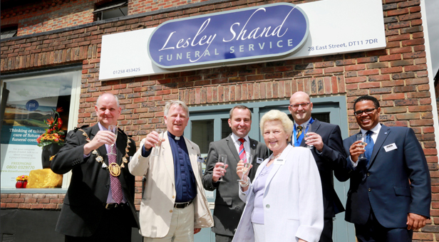 The new Lesley Shand Funeral Service premises on East Street, Blandford Forum, was officially opened and dedicated by The Reverend Stephen Coulter, pictured second left with manager Shane Watson (left).