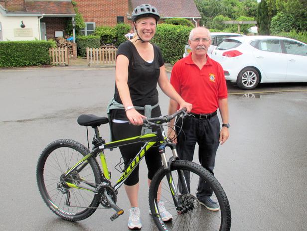 Cyclist Faye with co-organiser Andy Boyd