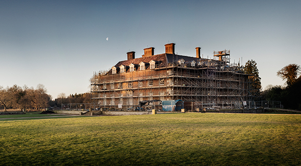 St Giles House, from the north-east, during restoration