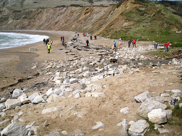 Volunteers cleaning Worbarrow beach