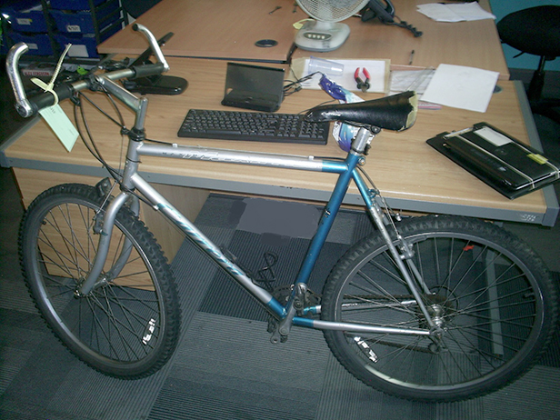 Recovered blue Carrera Maxima mountain bike