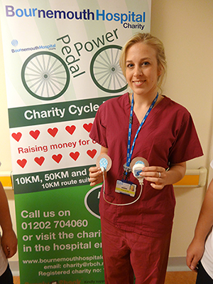 Tegan Collins, Cardiac Physiologist with one of the heart monitors funded by the 2014 Pedal Power