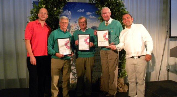 BRIGHTON AWARDS CEREMONY (from left to right): Tom Hart Dyke of Lullingstone Castle World garden creator who presented the awards along with Chris Collins (far right) celebrity gardener with Chris Hooker, Richard Nunn and Anthony Oliver