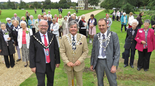 Cllr Steven Lugg, Chairman of the East Dorset District Council; Cllr John Adams, Mayor of Bournemouth; Cllr Shane Bartlett, Mayor of Wimborne at Kingston Lacy for the tree planting ceremony ©National Trust