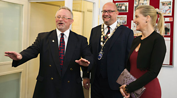 Heatherlands Centre manager John Hanrahan with the Chairman of East Dorset District Council and HRH The Countess of Wessex