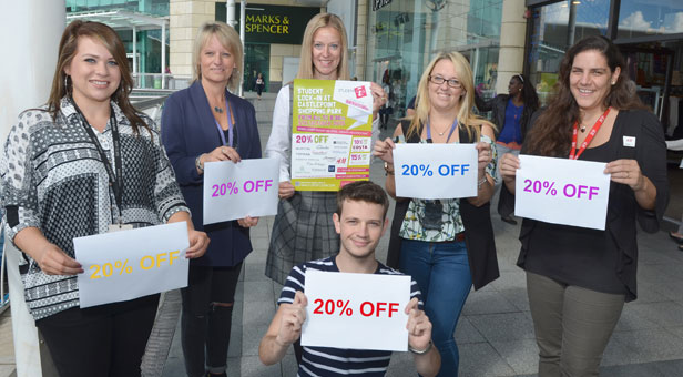 Sarah Ryan (centre) and retailers (from left) Jasmin Brown, Tina Taylor, Stacey Tarrant, Louise Broad and Matt Austin promote the Student Lock-In.