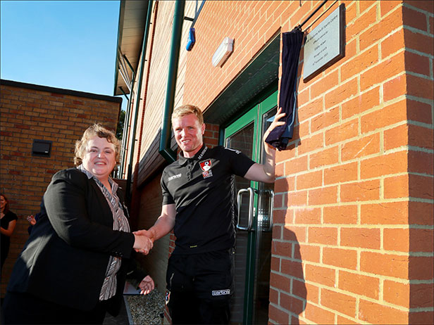 Gill Blanshard and Eddie Howe at the new facility at the LeAF Academy