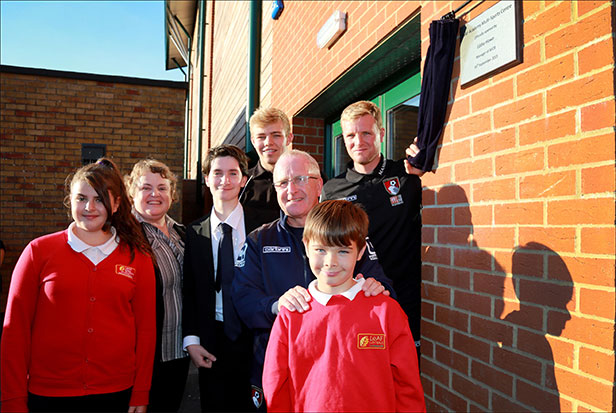 Eddie Howe at the opening of the new sports facility at the LeAF Academy