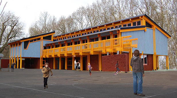 Photomontage image showing the design and scale of Ringwood Waldorf School's proposed Upper School building
