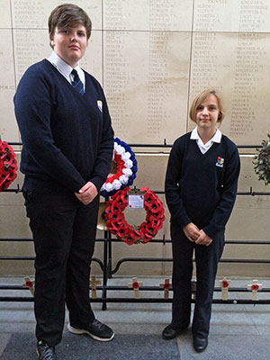 Bournemouth students place a wreath at the Menin Gates