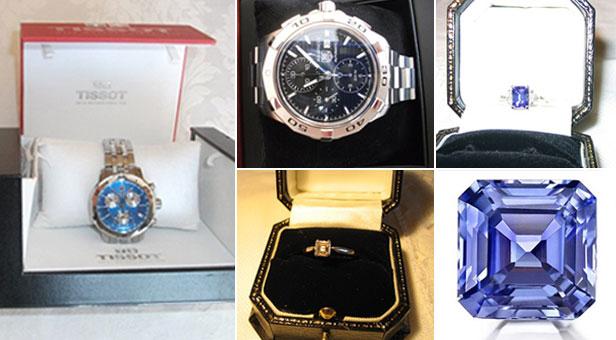 Tissot watch; Tag Heuer watch; tanzanite and diamond ring set in platinum; engagement ring - Asscher 0.5 carat cut diamond set in platinum; 4.25 carat, mid-cornflower blue Sri-Lanka Asscher cut sapphire
