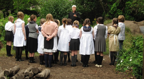 A scene from WCT's 2014 pilot project about the First World War: Rev Fletcher gives local children instructions on how to join the war effort