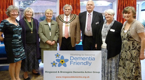 From left to right: Krista Allardyce, Cllr Christine Ford – Deputy Town Mayor of Ringwood, Mrs Gillian Thierry and Cllr Michael Thierry – Town Mayor and Mayoress of Ringwood, Cllr Mike Manley – Chairman of Bransgore Parish Council, Cllr Melissa Shepard, and Sue Scott