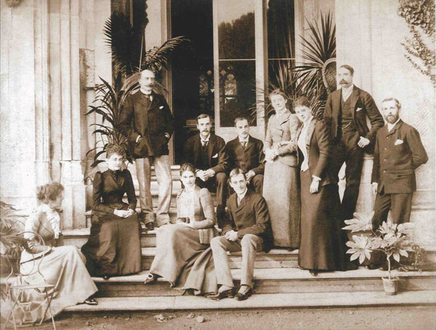 In this house party group at Highcliffe Castle in 1892, Ethel Smyth is fourth from the right. The Duke of Connaught is standing on the left with the Duchess in front of him. Edward Stuart Wortley is seated to the right of the Duke, with his wife Violet in front of him. © Ian Stevenson Collection