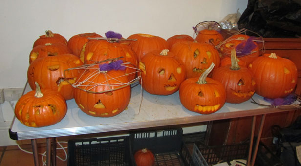 Pumpkins carved at the Kingcombe Centre © Sally Welbourn