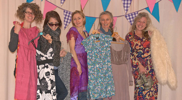 DRESSING UP. Ringwood Waldorf School parents prepare for the clothes swap. L-R: Anna Shiels, Ruth O'Neil, Naomie Thompson, Melanie Sinclair and Melanie Colborne