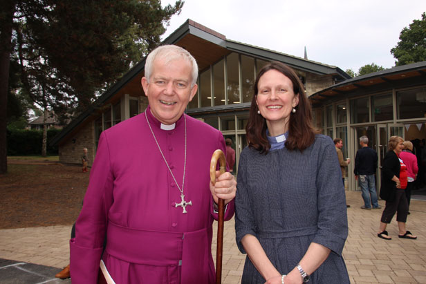 The Bishop of Salisbury and the Revd Sarah Pix outside The Beacon