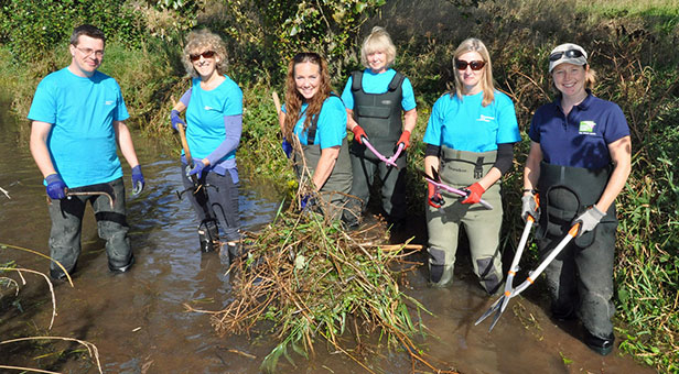 Bournemouth Water help Dorset Wildlife Trust clear the Gussage Stream near Wimborne