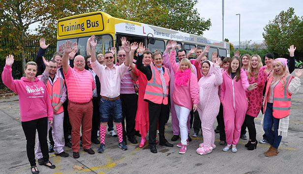 Yellow Buses pink day for breast cancer