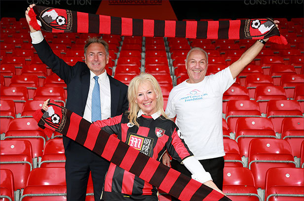 Cherries Chairman Jeff Mostyn with DCCF founder Eve Went and Chairman Chris Thomas
